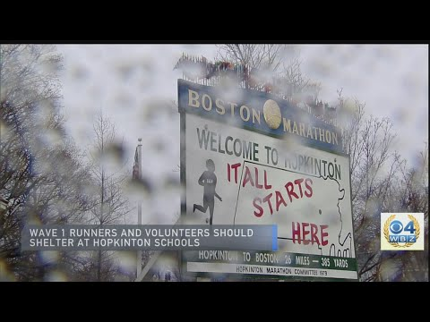 Rain, Thunder and Lightning Delay Boston Marathon Arrivals In Hopkinton