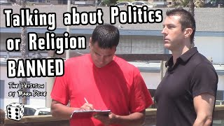 Political prankster Mark Dice asks beachgoers in San Diego, California if they'll sign his petition to ban talking about politics and religion at the beach. ...