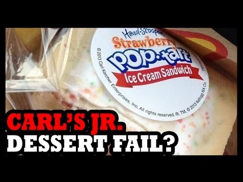 Pop - Pop Tart Ice Cream Sandwiches are the new Carl's Jr. attempt at a winning over lovers of sugar. They have Oreo cookie and chocolate chip cookie ice cream san...