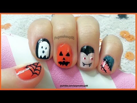 nail art halloween semplice con vampiro,zucca,fantasma,ragnatela!