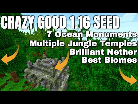 Best Minecraft Seed For Minecraft 1.16.2 Survival - 7 ocean Monuments 4 Jungle Temples Its Brilliant
