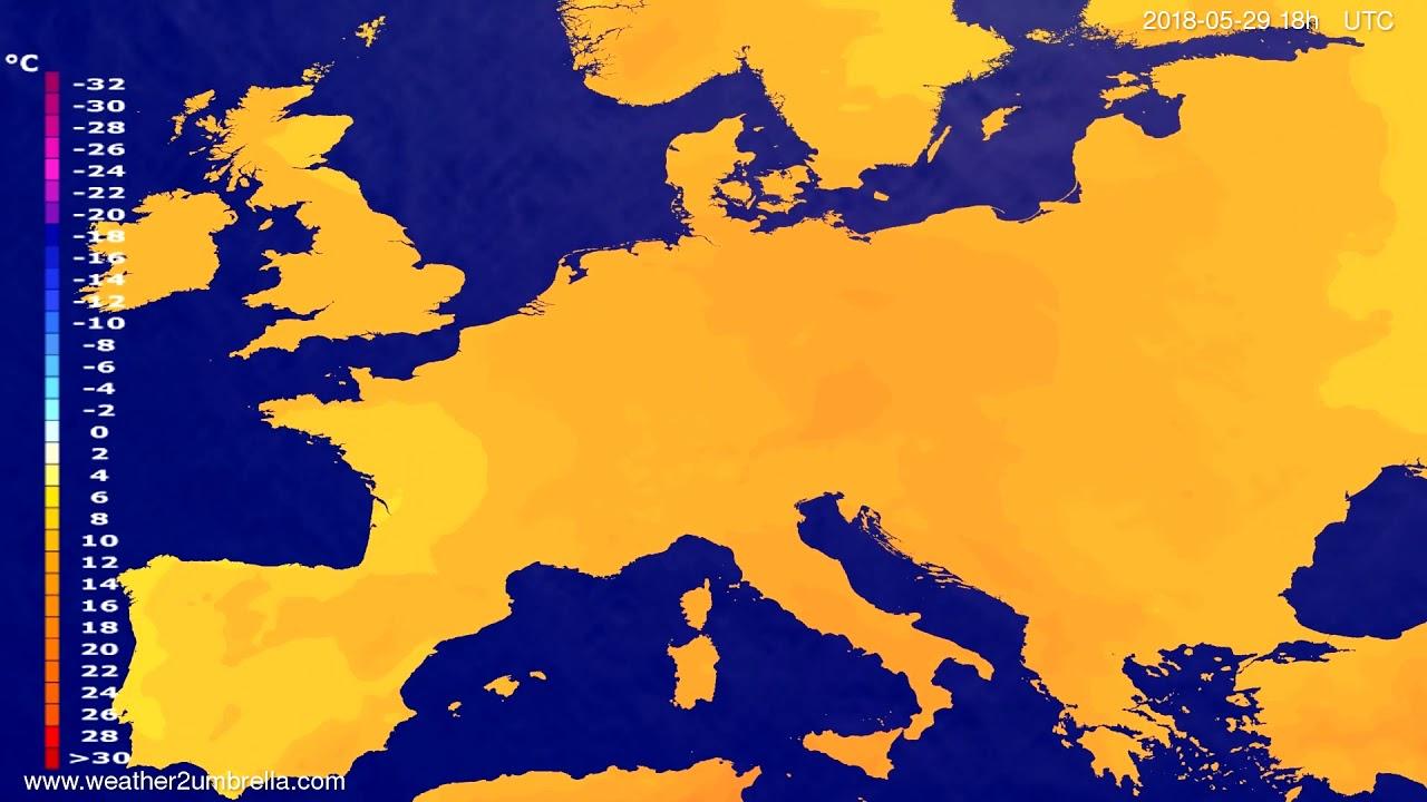 Temperature forecast Europe 2018-05-26