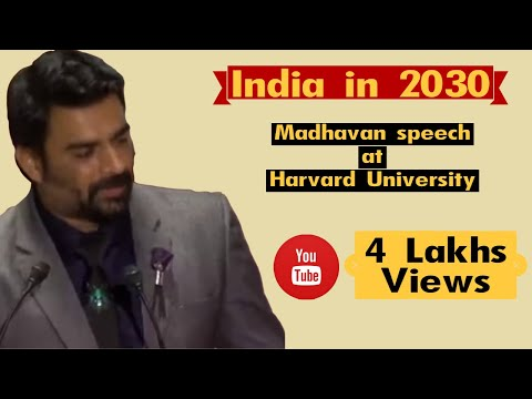 "R Madhavan Speech About ""india In 2030""  At Harvard University"