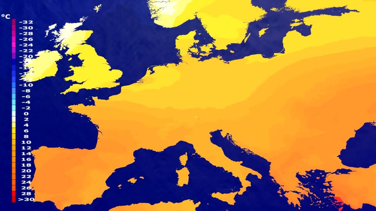 Temperature forecast Europe 2016-06-19