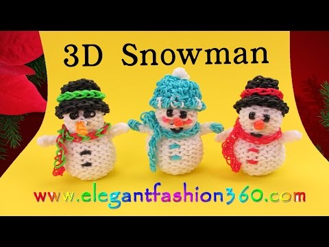 Rainbow Loom Snowman 3D Charms – How to Loom Bands- Holiday/Christmas Ornaments