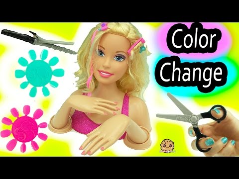 Giant Barbie Color, Cut & Curl Style Doll Head Make Over with Color Change Makeup + Nails