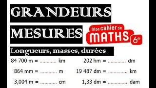 Maths 6ème - Longueurs, Masses, Durées Exercice 2