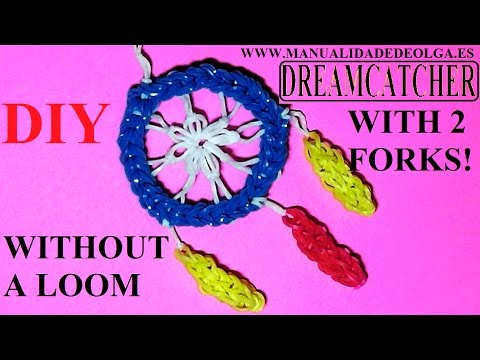 How to make Dreamcatcher with 2 forks, without a rainbow loom. Dream catcher charm