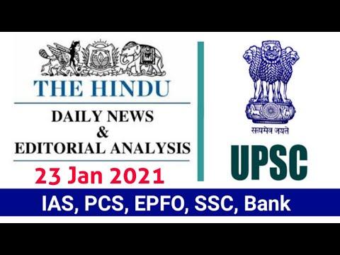 23 January 2021 | The Hindu Newspaper Analysis |Currentaffairs2021 |Today's the Hindu news analysis