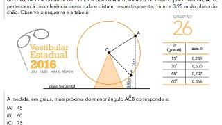 O raio de uma roda gigante de centro C mede CA = CB = 10 m. Do centro C ao plano horizontal do chão, há uma distância de 11...