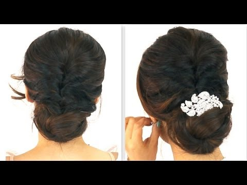 ★5MIN EASIEST PARTY UPDO | EVERYDAY BRAIDED BUN HAIRSTYLES FOR MEDIUM LONG HAIR TUTORIAL HOMECOMING