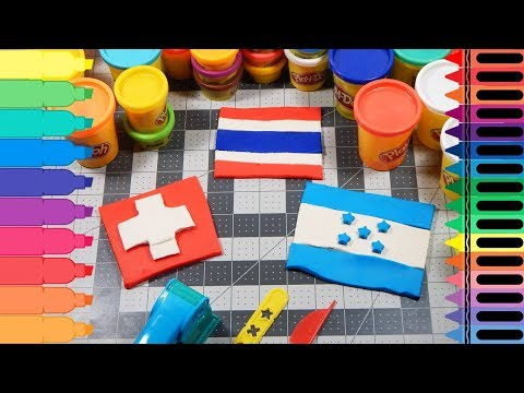 Play-Doh Honduras, Switzerland, Thailand Flags - Play Doh World Flags for Kids | Tanimated Toys