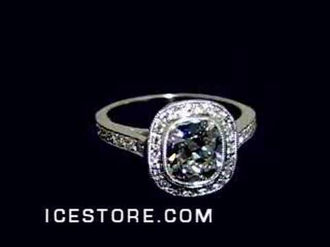CUSHION BRILLIANT DIAMOND PAVE ENGAGEMENT RING