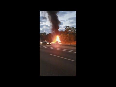 RAW VIDEO: Two vehicles catch on fire near the Buckman Bridge