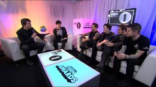Dan & Phil with Fall Out Boy at the Teen Awards 2013