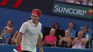 Have you ever seen a shot like this? Check out Roger Federer's freak shot off the frame of his racquet - you won't believe how the ...