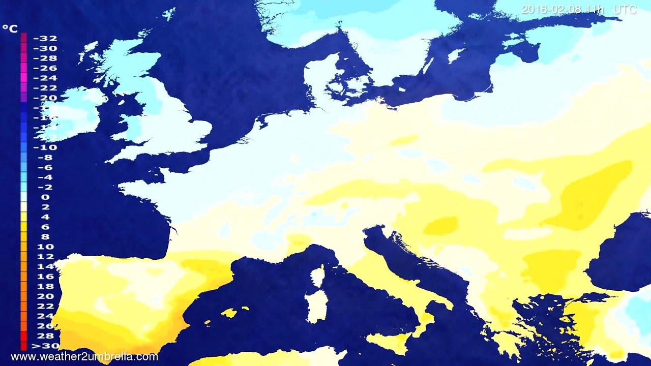 Temperature forecast Europe 2016-02-04