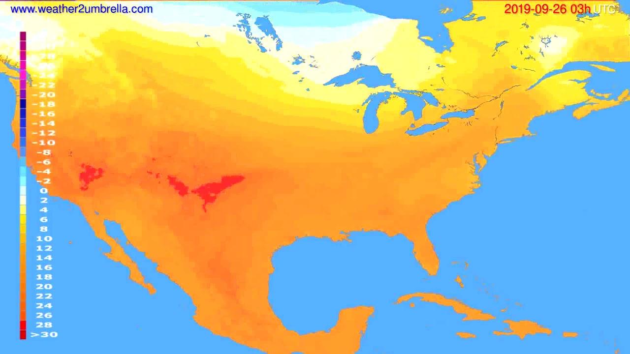 Temperature forecast USA & Canada // modelrun: 00h UTC 2019-09-23