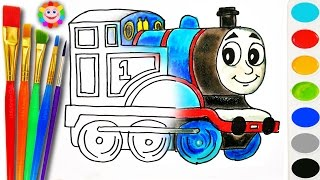 Coloring with Thomas and Fiends How to Draw Thomas the Tank Engine Learning Coloring Page Video