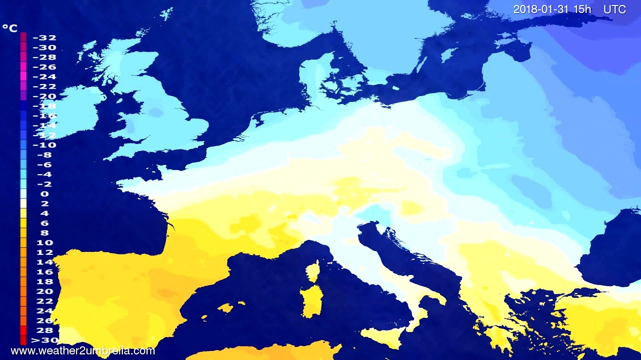 Temperature forecast Europe 2018-01-28