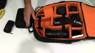 AmazonBasics DSLR and Laptop Backpack – Orange interior Review