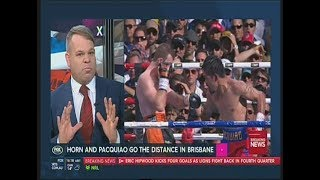 Review of Jeff Horn's upset win over Manny Pacquiao in a welterweight world title boxing match in Brisbane, Australia - The Battle of Brisbane. Comments from Paul Upham.