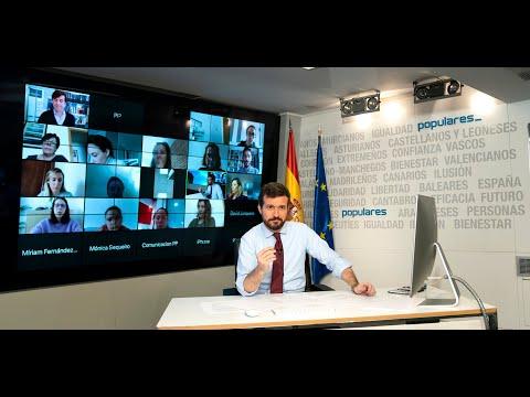 Intervención de Pablo Casado tras una videoconferencia con alcaldes de la FEMP del PP