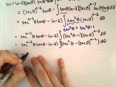 Reduction Formel für: Integral von [sec (x)] ^ n dx