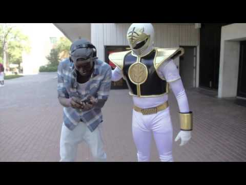 Guy geeks out over power ranger cosplay