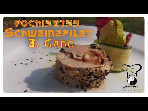 Pochiertes Schweinefilet gefüllt mit Tomatenpesto und Mozzarella mit einem Zucchini Turm und Wasabi Vinaigrette