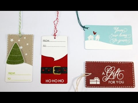 tags - Step by step video on creating 4 handmade Christmas gift tags. Blog post: http://www.clips-n-cuts.com/2014/09/christmas-gift-tags/ ——— S U P P L I E S ——— • ...
