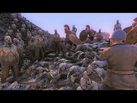 300 Spartans 5 US Marines Chuck Norris vs Zombies Orcs Giants Ultimate Epic Battle Simulator