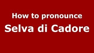 Selva Di Cadore Italy  city images : How to pronounce Selva di Cadore (Italian/Italy) - PronounceNames.com