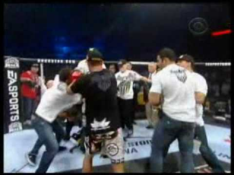 Jake Shields Nate and Nick Diaz fight Mayhem Miller Post Fight after Mayhem Rushes Ring Live Clip
