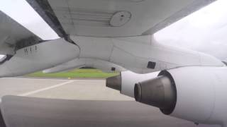 A short hop from London, down to Zuerich, in the Avro RJ-100 be sure to check out the really fast and short takeoff from London...