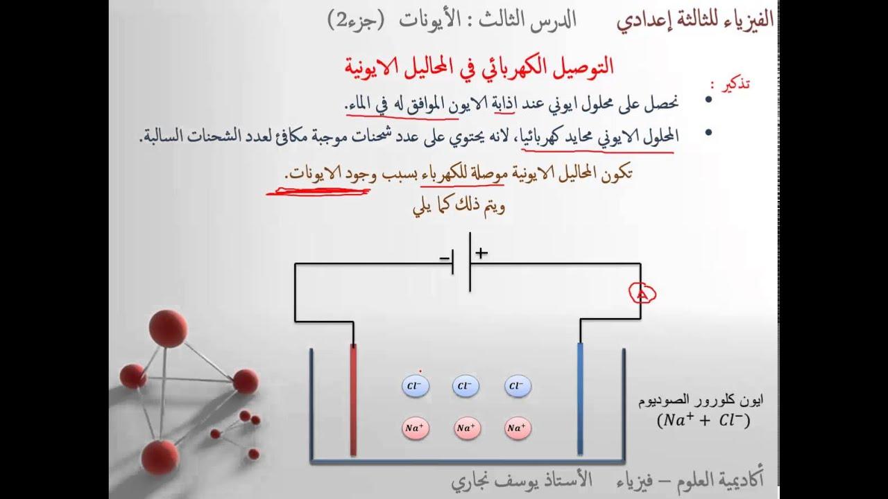 الايونات جزء2 : التوصيل الكهربائي في المحاليل المائية