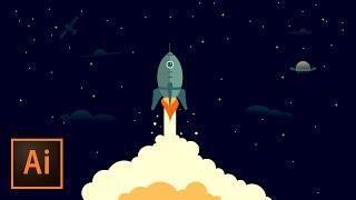 Rocket Ship Outer Space Illustration - Illustrator Tutorial