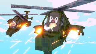 Minecraft: HELICOPTERS Mod Showcase! (Attack Helicopter, Scout, Transportation)