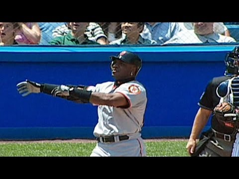 yankee stadium - 6/8/02: Barry Bonds blasts a three-run shot to the upper deck in right field for his first and only home run at Yankee Stadium Check out http://MLB.com/video...