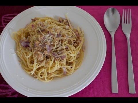 spaghetti alla carbonara con tonno - ricetta