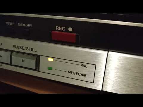 Video2000 tape being played in a VHS VCR