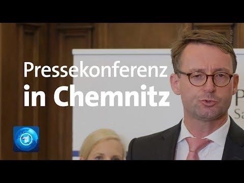 Chemnitz - Pressekonferenz mit dem sächsischen Inne ...