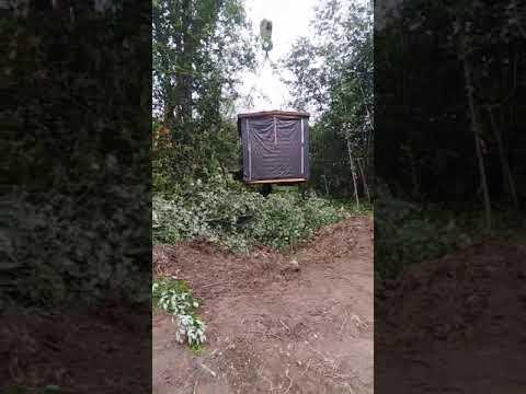 Установка перевозной мобильной бани 2,3х4,0 м в деревне Пчевжа Киришского района при стесненных условиях работы