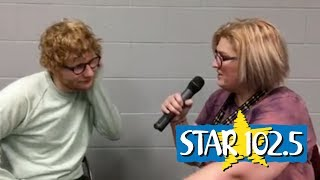 """Karess speaks to Ed Sheeran before his June 30, 2017 show at Wells Fargo Arena in Des Moines. They discuss Adele, Game of Thrones, and Ed's """"secret album."""""""