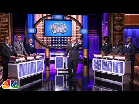 jason - Steve Harvey hosts a special Tonight Show edition of Family Feud with Jason Segel, Jimmy and Higgins of the Fallon family facing off against Questlove, Tarik...