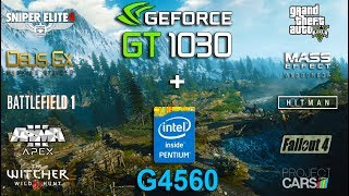 NVIDIA GT 1030 + Pentium G4560 Test in 10 GamesGames :Arma 3 APEXBattlefield 1 - 01:04Deus Ex Mankind Divided - 02:10Hitman 2016 - 03:18Grand Theft Auto V - 04:22Sniper Elite 4 - 05:25The Witcher 3 - 06:20Project CARS - 07:31Mass Effect Andromeda - 08:31Fallout 4 - 09:48System: Windows 10Intel Pentium G4560 3.5GhzGT 1030 2Gb 1227/6008Mhz16Gb RAM 2400Mhz