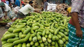 Biggest Wholesale Vegetables Market In Bangladesh  Huge Fresh Vegetables Available Morning Bazar
