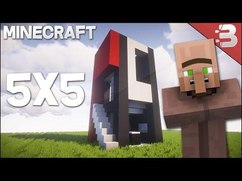 Minecraft 5x5 modern house tutorial minecraft project for Modern house minecraft tutorial