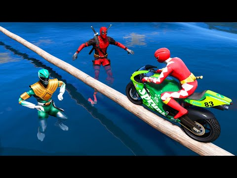 Power rangers vs X-men | All Superheroes Drive Over Pipe Parkour With SUPERHERO Motorcycles - GTA V