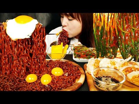 ASMR [COOKING & EATING] SPRING ONION KIMCHI AND BLACK BEAN NOODLES, DUMPLINGS. MUKBANG